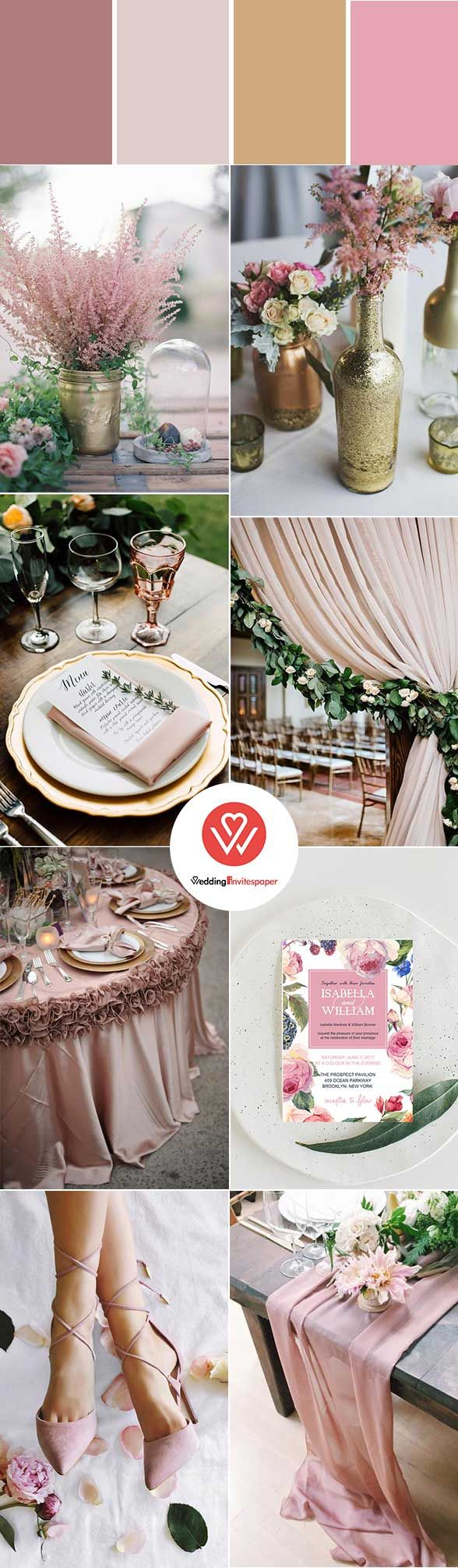 GLAMOROUS RUSTIC FALL WEDDING COLOR PALETTES: ROSE PINK INCORPORATED WITH WEDDING INVITATIONS - Wedding Invites Paper