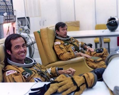 Astronauts Bob Crippen and John Young, who flew everything after the Mercury capsule.