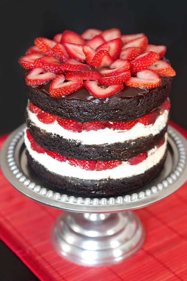 Strawberry Brownie Layer Cake