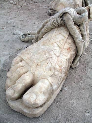 Detail of the foot of Hadrian from a colossal statue, Sagalassos, c. 120CE, showing the sandal's lacing pattern.