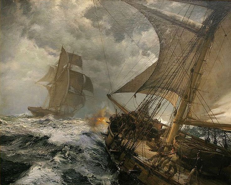Montague Dawson, best maritime painter in history? This is a painting of a revenue cutter bringing a smuggler to justice.