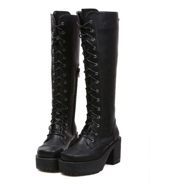 KEXIN Womens Black Punk Lace-up Gothic Chunky Heels Platform Knee-high... ($70) ❤ liked on Polyvore featuring shoes, boots, knee high laced boots, lace up boots, gothic platform boots, goth platform boots and knee high boots