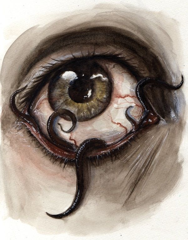 Eye worms painting.