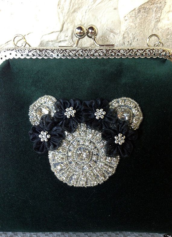 Mickey Love Dark Green Velvet Bag by ebroosbags on Etsy