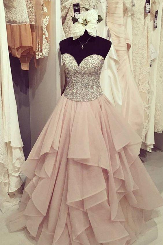 Elegant chiffon tiered A-line sweetheart sequins long dress ,cute graduation dresses