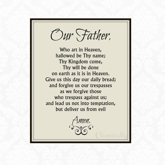 Our Father Prayer Print 5x7 8x10 Print The by ClassicallyPrinted