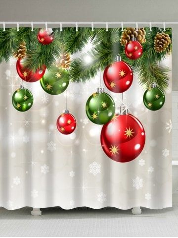 Christmas Baubles Tree Print Fabric Waterproof Shower Curtain