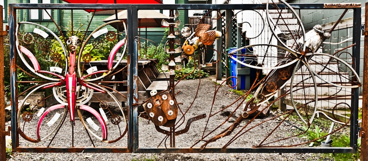 Richard Cawley - whimsical gates, this one from old bike parts