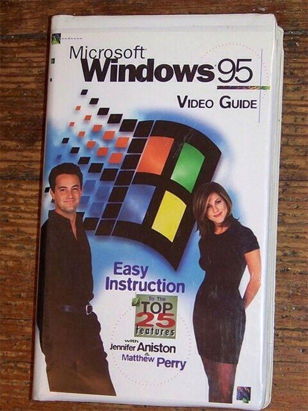 Chandler and Rachel teaching you about Windows 95: | 35 Pictures That Will '90s The Hell Out Of Your Ass