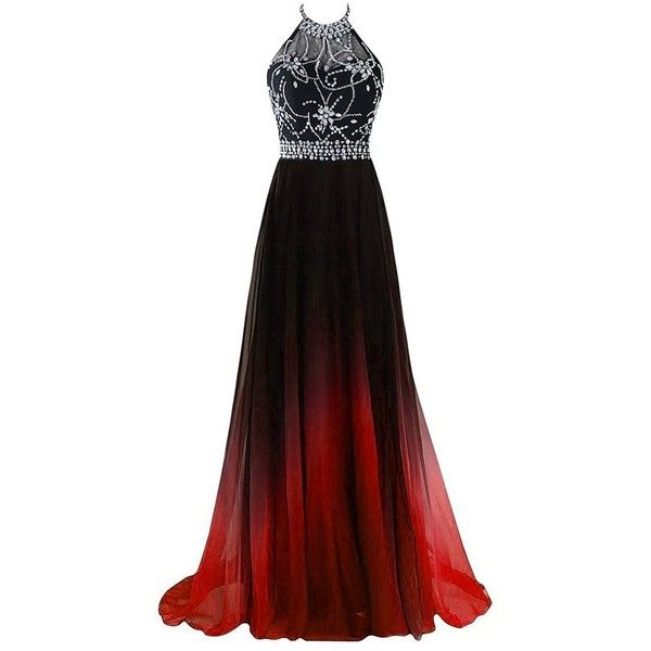 af443d97d06 Hear Women s Halter Gradient Chiffon Long Prom Dress Ombre Beads... ( 69) ❤  liked on Polyvore featuring dresses