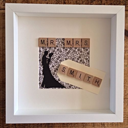 handmade wedding anniversary scrabble picture shadow box frame
