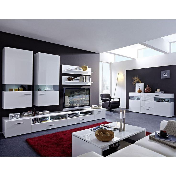 E Combuy Angebote Wohnzimmer Set HATTAN258 Weiß Hochglanz: Category:  Wohnwände Item Number:
