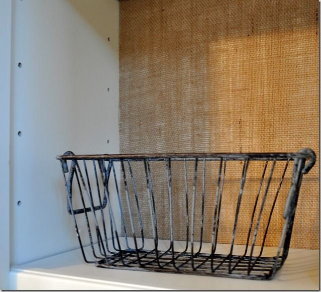 """Burlap """"Wallpaper"""" How To — Use burlap to cover the wall behind exposed shelves next to sink? Paint simple rustic design on the burlap itself?"""