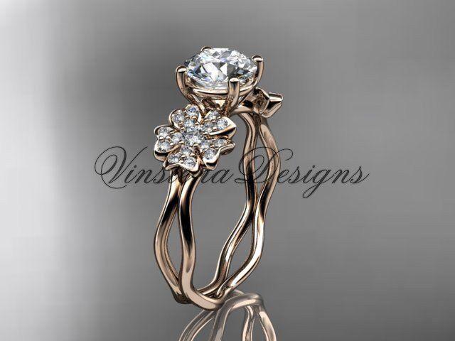 """14kt rose gold diamond Cherry Blossom flower, Sakura engagement ring  """"Forever One"""" Moissanite VD8019"""