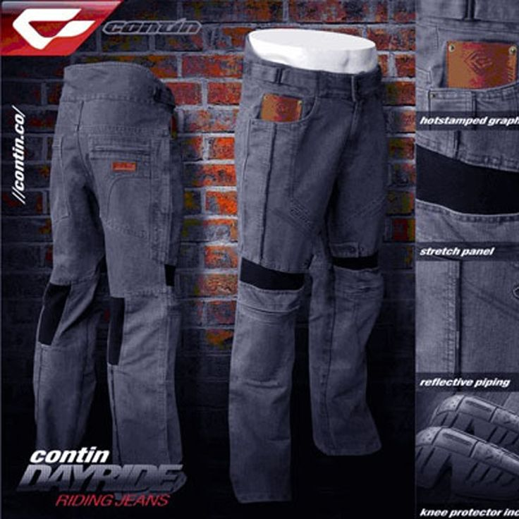 Celana Touring Contin - Dayride  Condition: New product      Premium durable 14oz denim     Removable Knee Protector (upgradable to CE Protectors)     Ribbed flex panels for comfort movement     Contin marked reflective piping for nighttime visibility
