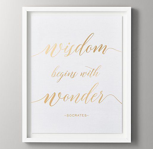 Quotes Metallic Foil Art - Wisdom Begins with Wonder