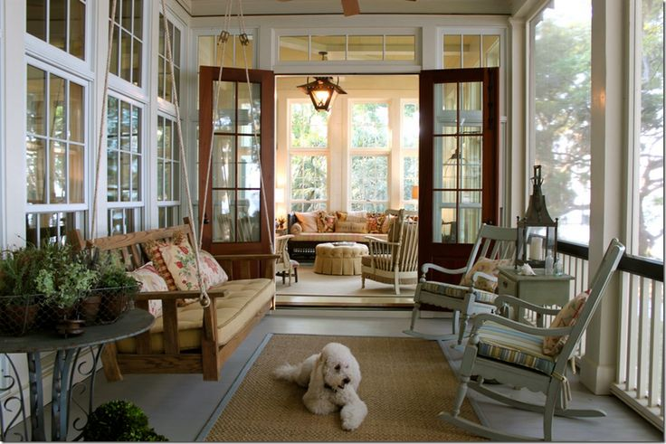 French Doors leading onto porch from living area.                          More Porch Love... — Providence Design