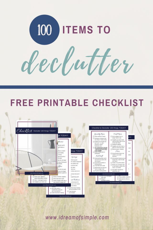 FREE Printable Checklist to Declutter 100 Things Today Declutter
