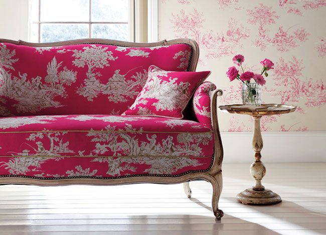 fun fabric on an antique sofa