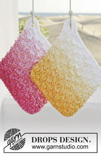 "Knitted DROPS pot holder with double seed st in 3 strands ""Paris"". ~ DROPS Design"