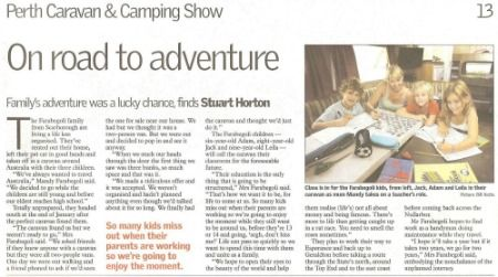 We were asked to appear in the pullout for the Caravan and Camping show in WA whilst on out trip around Australia.