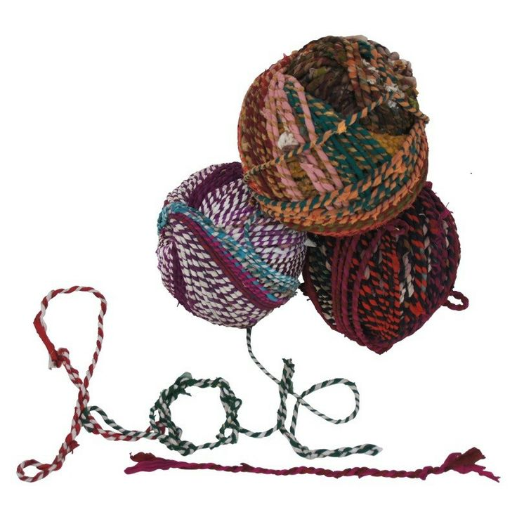 Mooi! Bol #touw gemaakt van oude Indiase sari's | Deng!