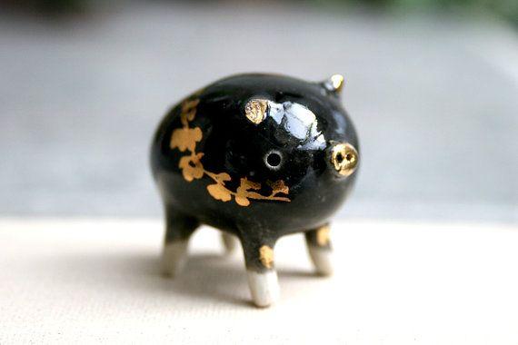 18 K Gold Luster Unique Tiny Pig. Ceramic by ferceramics on Etsy