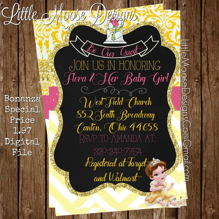 beauty and the beast belle baby shower invitation be our guest