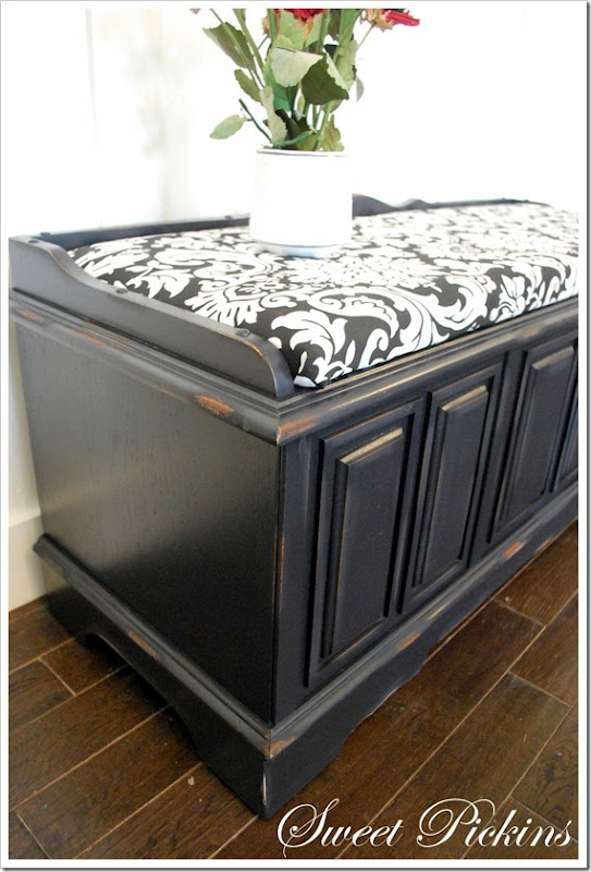 I'm going to do this with my old cedar chest, but the fabric will be a zebra pattern.  Wild!