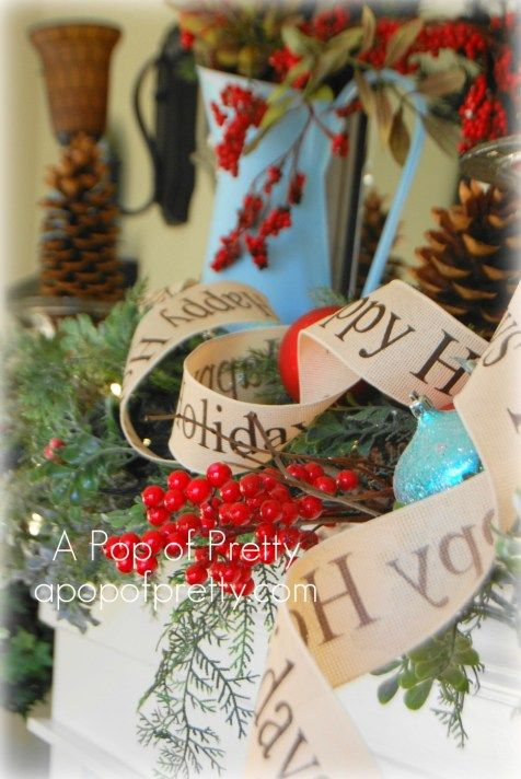 My rustic, red and turquoise Christmas mantel (Lots of pics) - A Pop of Pretty Blog (Canadian Home Decorating Blog - St. John's, Canada)