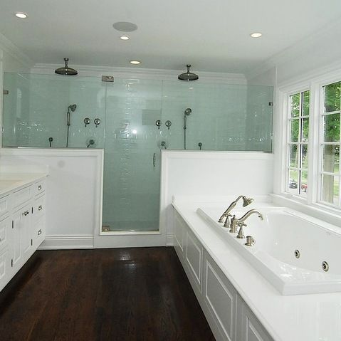 Shower Glass Pony Wall Design Bathrooms Pinterest