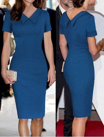 Elegantes, flaches Kragen einfarbig Kurzarm, figurbetontes Kleid für Frauen, figurbetont – Mode Für Frauen
