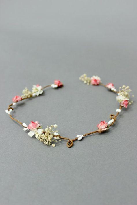 Blumenkranz schlicht, für die Hochzeit, Koralle – Coronita