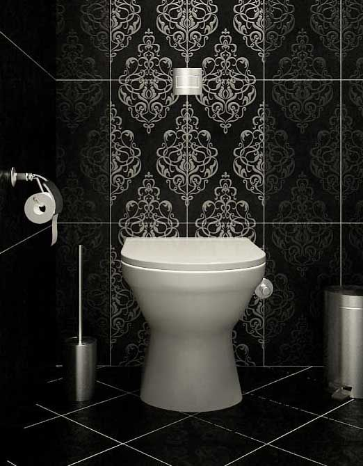 Modern Classic Black And White Tile Toilet Very Dramatic Bath Details P
