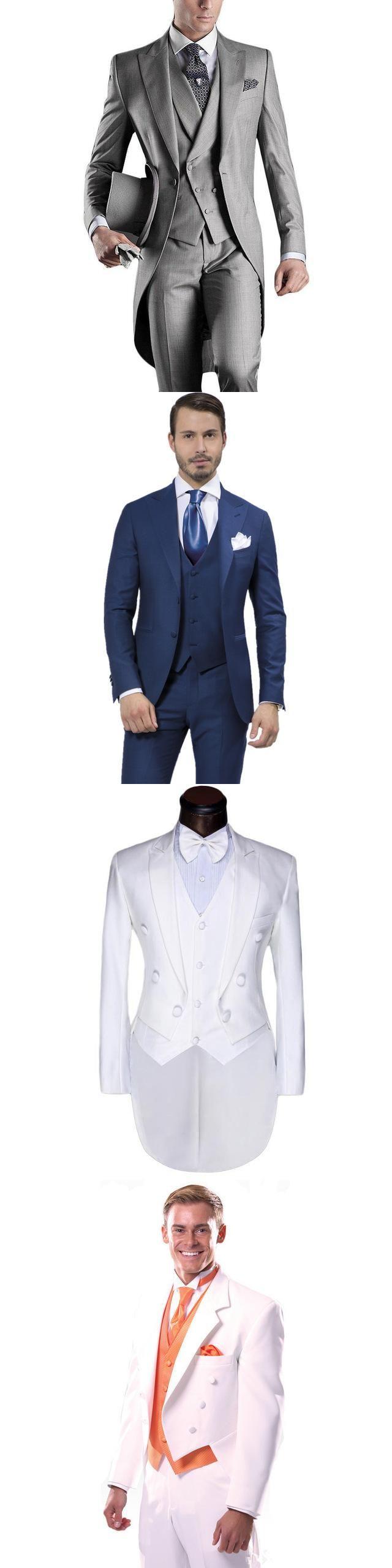 New Arrival Italian Men Tailcoat Blue Wedding Suits For Groomsmen 3pieces Groom Peaked