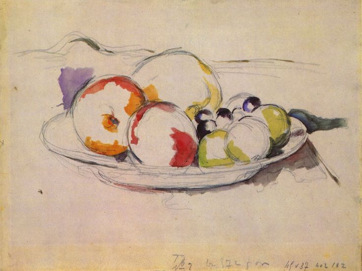 "huariqueje: "" Still Life with Fruit - Paul Cezanne, 1885-88 French,1839-1906 Watercolor on pencil, 23.8 x 31.8 cm, Museum of Fine Arts Budapest """