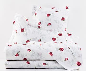 Completo copripiumino in cotone percalle Baccarat rosso, matrimoniale