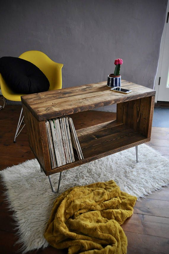 Record Player Stand Hairpin Leg Lp Vinyl Storage Cabinet Console Tv Unit Turntable Coffee Table Vintage Mid Century Legs