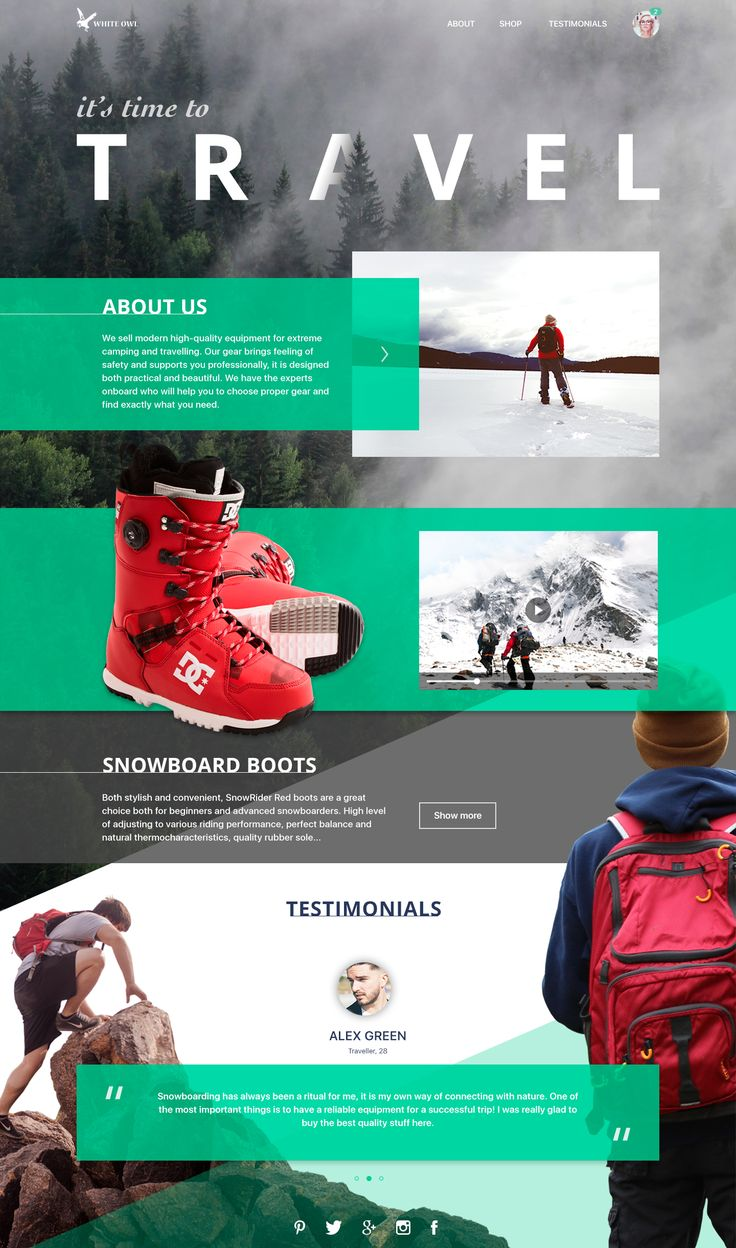 Tubikstudio travel gear landing page