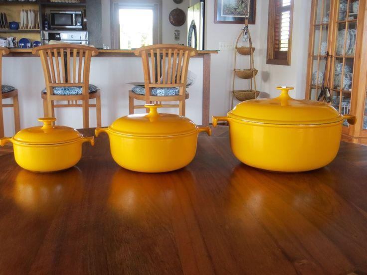 Set of Vintage Yellow Orange Le Creuset Dutch Oven La Mama by Enzo Mari | eBay