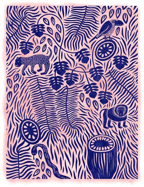 jungle, animal, tigre, babouin, faune, rose, bleu, illustration, feuille, Linnéa Puranen