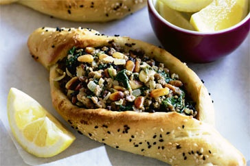 Delicious spinach and lamb pides! http://www.taste.com.au//recipes/17922/spinach+and+lamb+pides