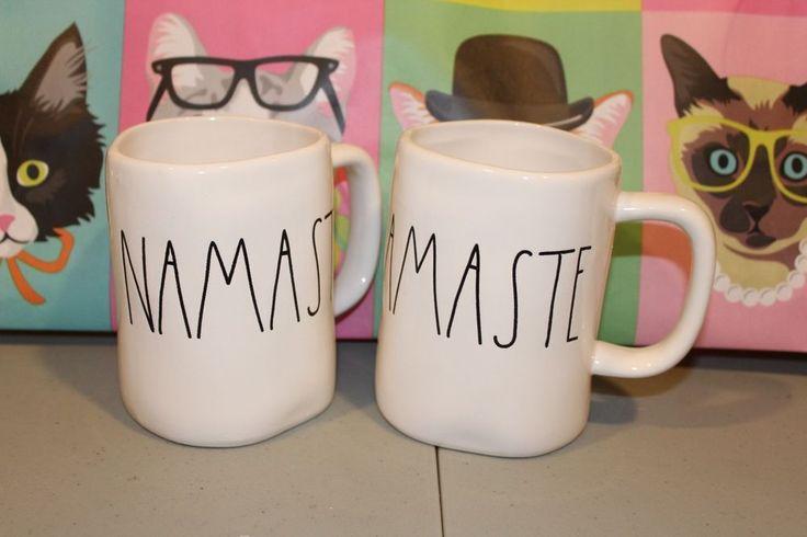 Rae Dunn Artisan Collection by Magenta NAMASTE White Farmhouse Mugs Set/2 NEW  | eBay
