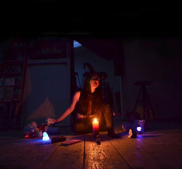 Artist in studio - photoshoot from my summer atelier.  Devil and kitsch.  #devil #kitsch #artistinstudio #klarasedlo #atelier #dark #mystical #decadent #gothic #mysticalphoto #mysterious #darkness #aboutshallowness #abouttodaysshallownes