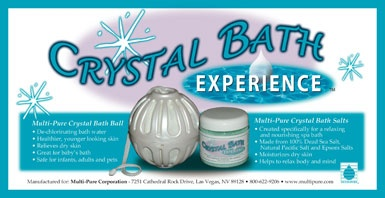 Multi-pure Crystal Bath Ball.  $59.  When water comes in contact with the media filament inside the fabric pouch, the chlorine ions in the water are converted into a harmless chloride. The toxic effects of chlorine, chloriamines, and chlorine gas are eliminated with the aid of a special media called KDF-73 in filament form. The media is 70% pure copper and 30% pure zinc. Chlorine is removed quickly when the Crystal Ball is circulated through the bath water. The crystalline quartz mixed with…