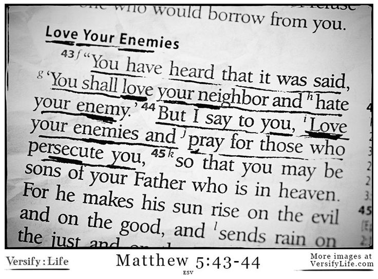 Matthew 5:43-44 - Love your neighbor! More Bible images at http://www.versifylife.com