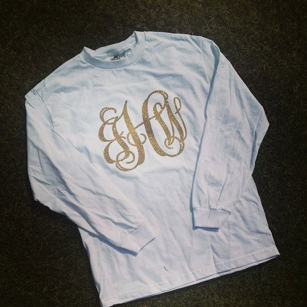 Glitter Monogrammed Long Sleeve Shirt (£15) ❤ liked on Polyvore featuring tops, black, t-shirts, women's clothing, long sleeve shirts, holiday tops, party tops, monogrammed long sleeve shirts and embellished tops
