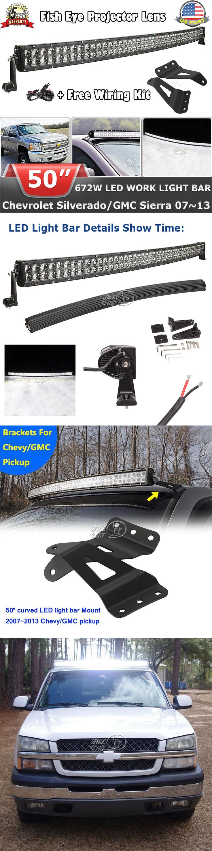 Car Lighting: Cree 50Inch 672W Curved Led Light Bar+Mount Bracket Fit For Chevy Silverado 1500 -> BUY IT NOW ONLY: $119.99 on eBay!