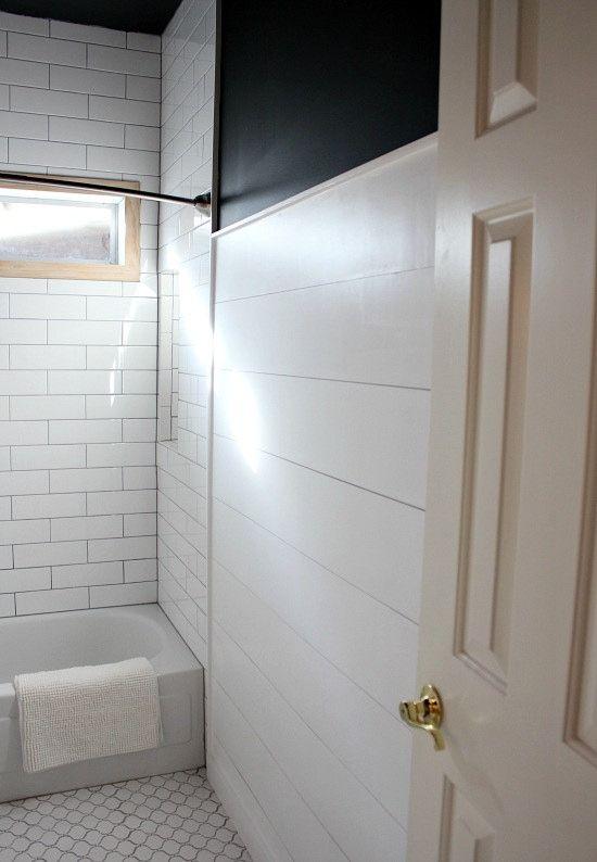 Modern farmhouse bathroom makeover with white shiplap and hexagon tiles
