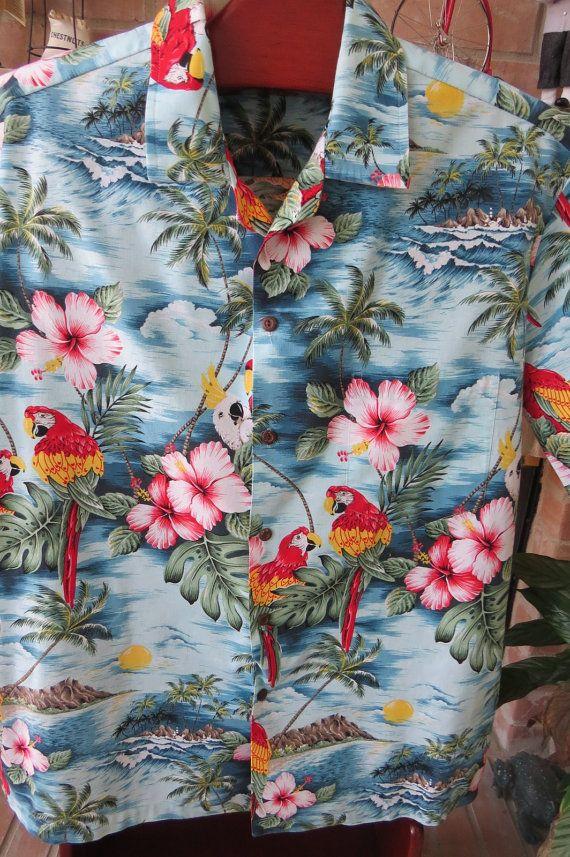 Vintage Hawaiian Aloha Shirt  Colorful Tropical by shabbyshopgirls, $32.00